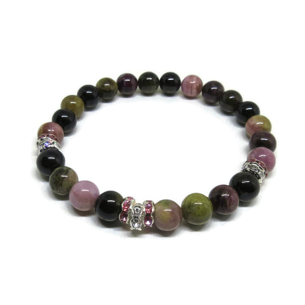 Multi colour Tourmaline 6 mm beaded bracelet with clear and pink rhinestones