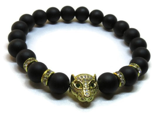 Matte Onyx stretch bracelet with micro-pave leopard crystal bead