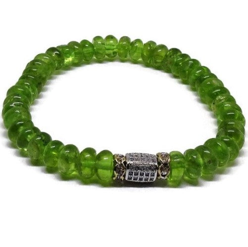 Natural Peridot 6 mm bead bracelet with CZ silver micro-pavecuboid and gold rhinestones