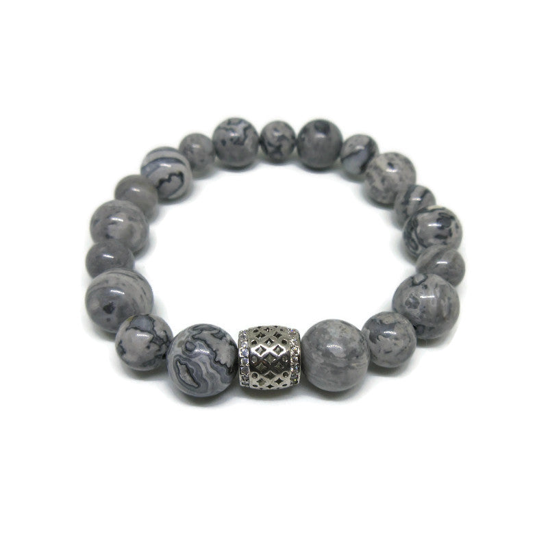 Grey Scenery Jasper 10 and 8 mm beaded bracelet with silver cz tube