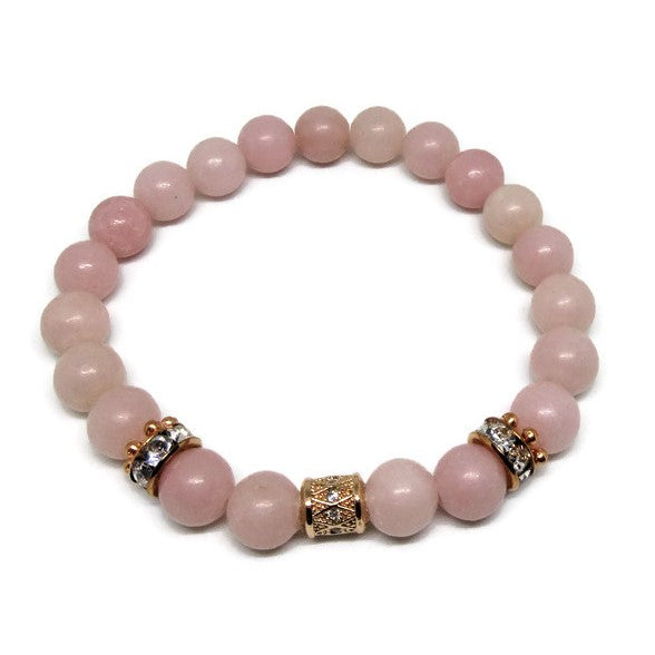 Peruvian Pink Opal 8 mm bracelet with CZ rose gold column bead and rose gold rhinestones