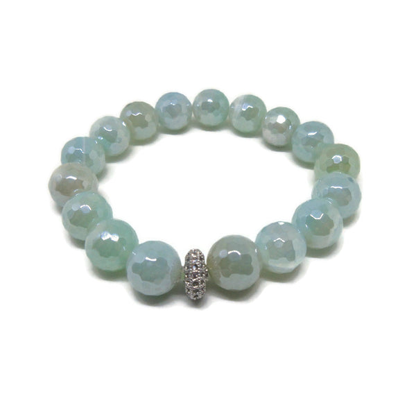Agate faceted 10mm beaded bracelet with CZ silver spacer