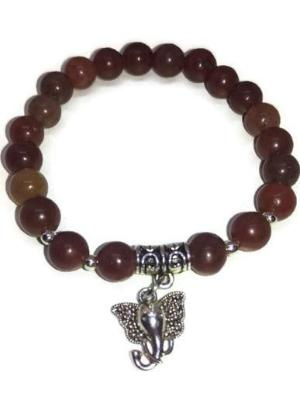Red Aventurine stretch bracelet with silver elephant charm
