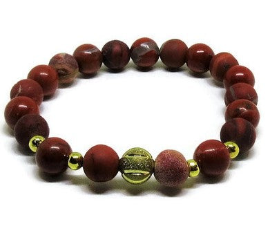 Red Jasper 8mm stretch bracelet with gold accents