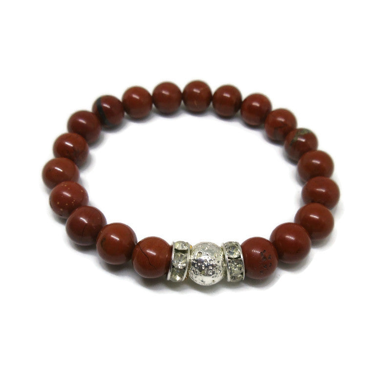 Red Jasper and Lava Rock 8mm beaded bracelet