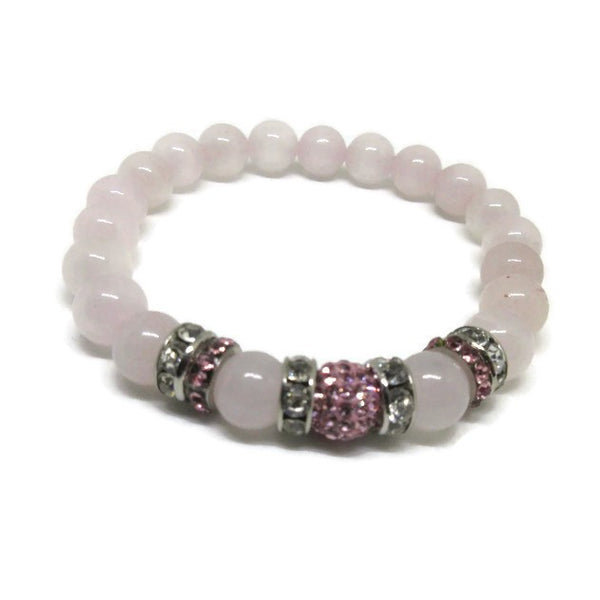 Rose Quartz 8 mm beaded bracelet with rose pave crystal ball and rhinestones