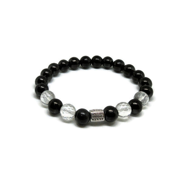 Shungite and Crystal Quartz 8mm stretch braceet with CZ silver tube bead