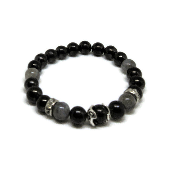 Shungite 8 mm stretch bracelet with Labradorite, 925 Sterling Silver bead cups and clear rhinestones