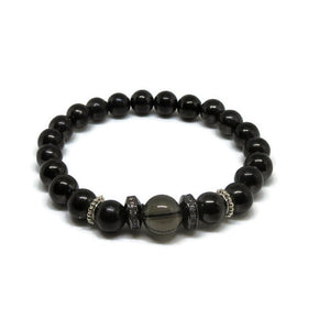 Shungite 8 mm stretch bracelet with 10 mm Smoky Quartz, black CZ rhinestones and 925 Sterling Silver spacers