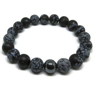 Snowflake Obsidian 10 mm mat beads with Hematite