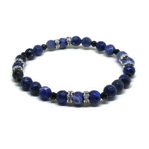 Sodalite and Spinel faceted 6 mm stretch bracelet with clear rhinestones