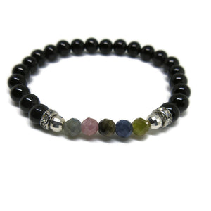 Black Spinel with faceted Multi Sapphire 6mm beaaded bracelet