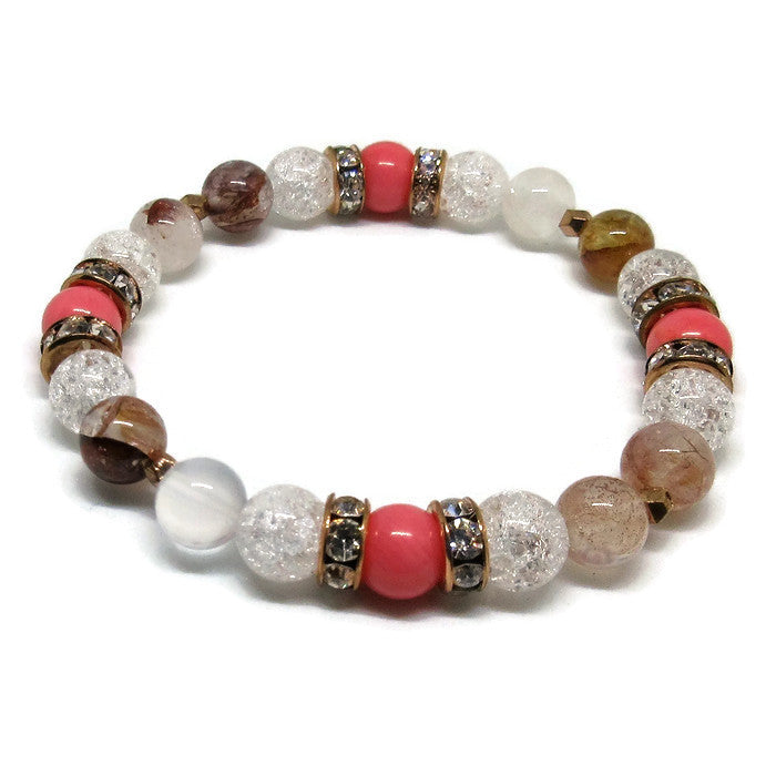 Strawberry Quartz, Pink Coral and Cracked Quartz 8 mm stretch bracelet with 14k rose gold plated faceted 4 mm nuggets and rose gold rhinestones