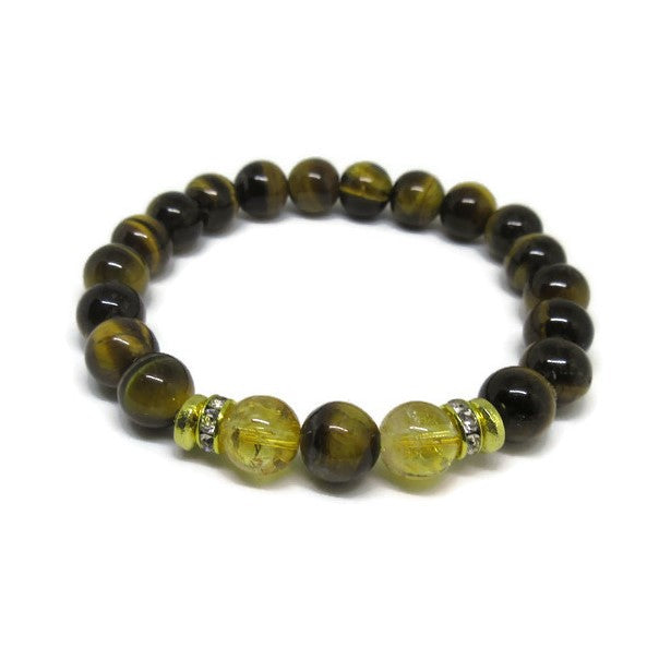Tiger's Eye and Citrine  8mm beaded bracelet with 22k gold plated rondels and rhinestones