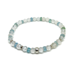 White Topaz faceted 5mm and Apatite stretch bracelet wit 925 SS beads