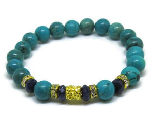 Genuine Turquoise 8mm and faceted Sapphire bead bracelet with 22k gold plated tube and rhinestones