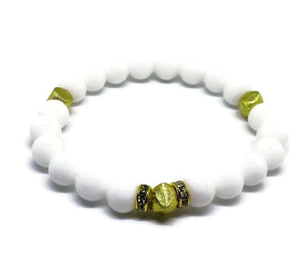 White genuine Jade stretch bracelet with 22k gold plated nugget beads and clear rehinestones