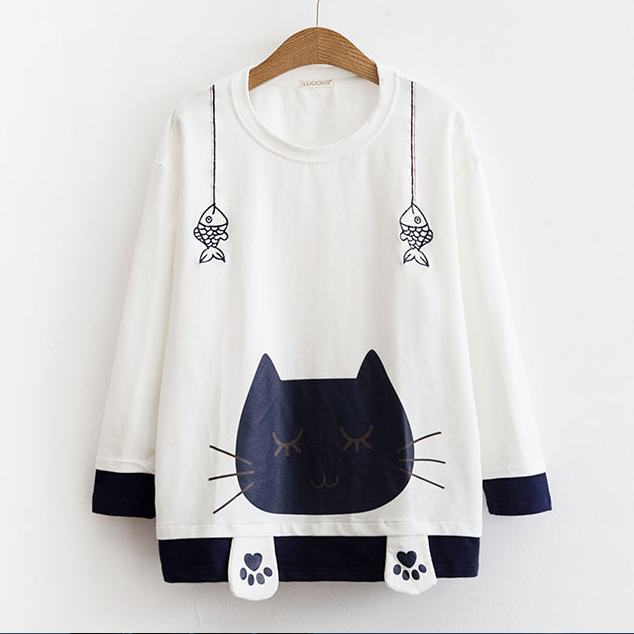 Cute cat is fishing print long sleeve hoodie sweater YV5064