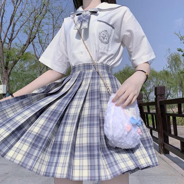 College style JK uniform plaid skirt set yv43291
