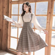 Fashion retro shirt + dress set yv43272