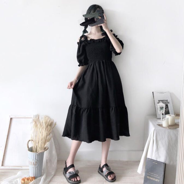 Fashion black sleeveless dress yv43277