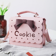 Pink/brown bowknot embroidery bag YV1505