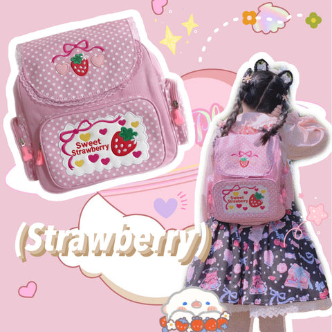 Japanese style ulzzang strawberry backpack yv43088