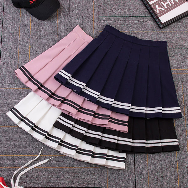 College style uniform striped skirt yv43257