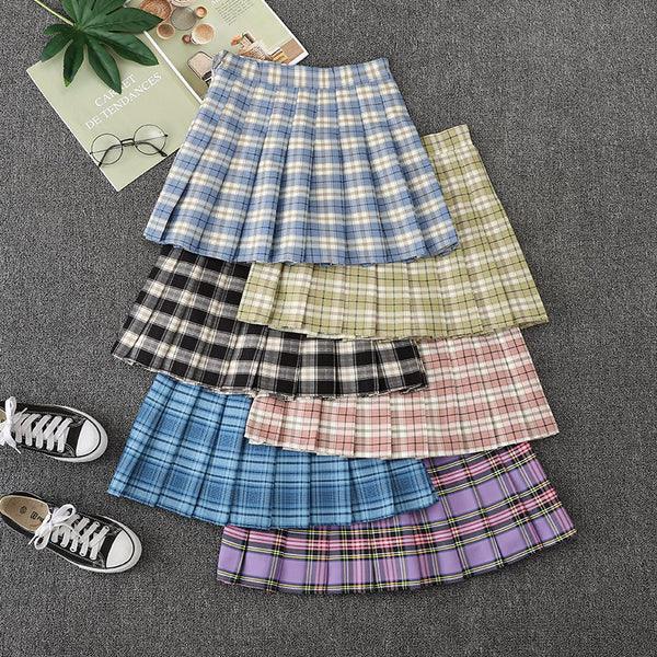 Japanese sweet summer plaid skirt yv43259
