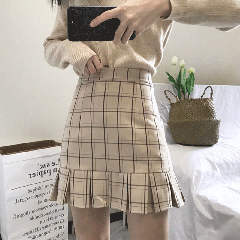Sexy high waist plaid skirt yv40636