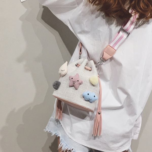 Cute canvas shoulder bag yv40657