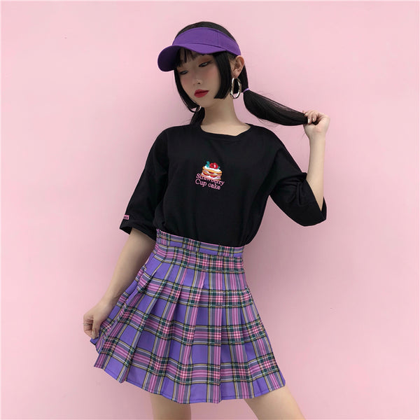 Ulzzang Harajuku pleated skirt yv406647