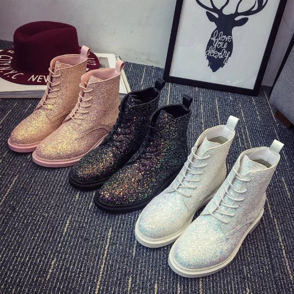 Fashion Sequins PU Martin Boots YV1138