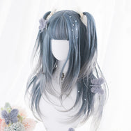 Harajuku blue-gray gradient long curly wig YV43577