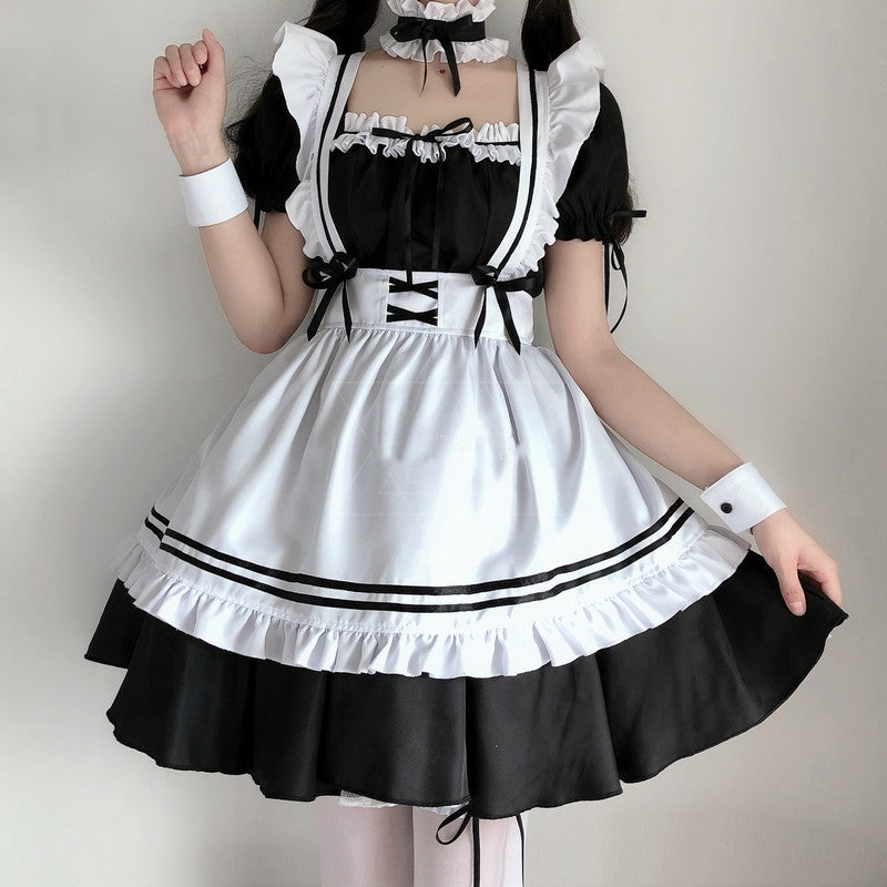 Lolita black and white maid dress suit YV43594