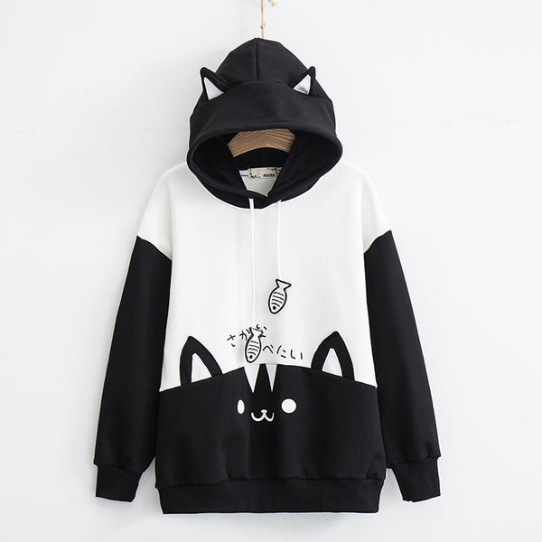 Cute cat color matching hooded sweater YV43669