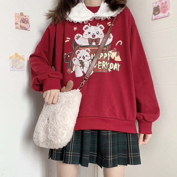 Cute bear printed sweater YV43681