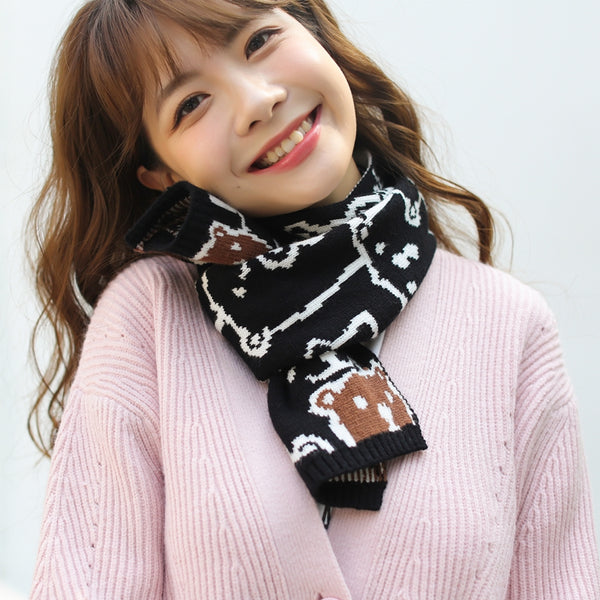 Cute cartoon knitted scarf YV43685