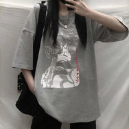 Japanese comic print casual T-shirt yv43231