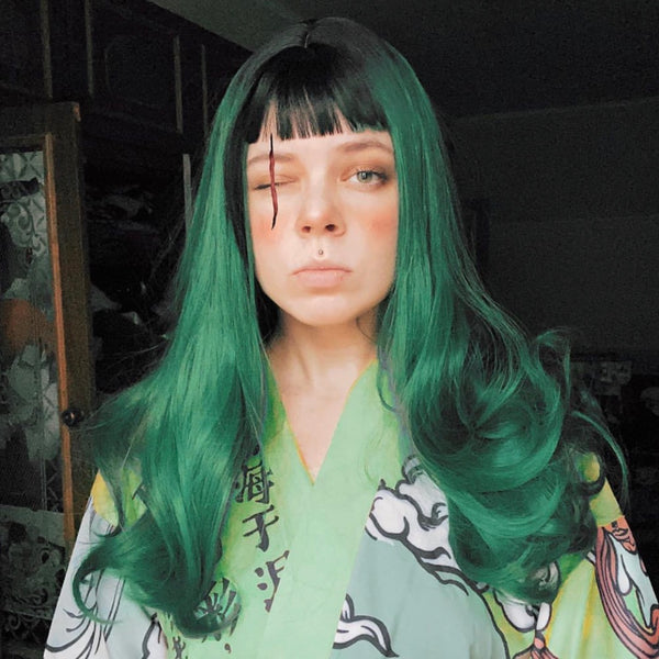 Review for Lolita green long roll wig yv42494