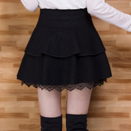 Sweet Black/wine red woolen skirt  YV2385