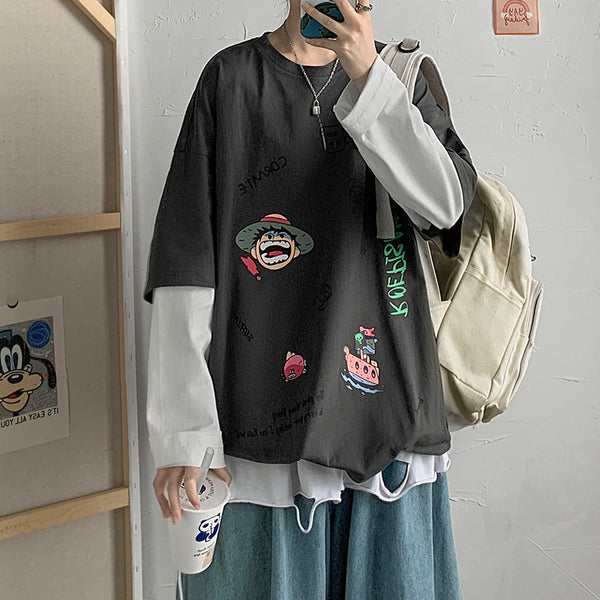 Harajuku Fashion Fake Two-Piece Long Sleeve T-shirts yv43416