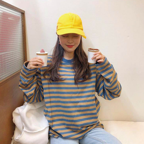 Ulzzang retro contrast striped sweater yv40624