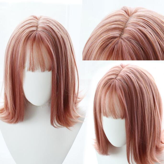 Fashion daily sweet pink wig yv43414