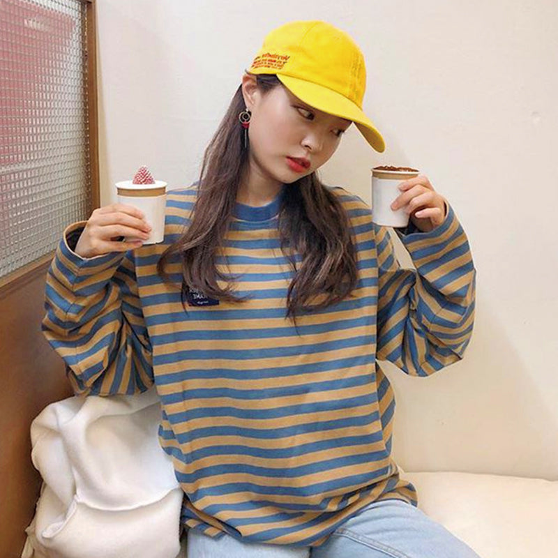 Ulzzang Retro Contrast Striped Sweater Yv40624 Youvimi