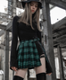Sexy plaid high waist skirt yv40725