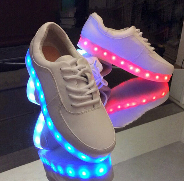 Korea couples LED colorful fluorescent USB charging light shoes YV2196
