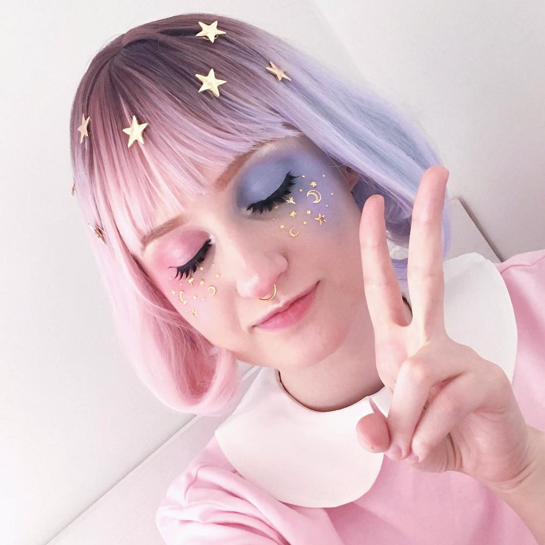 Review for Lolita blue pink gradient cos wig yv40603