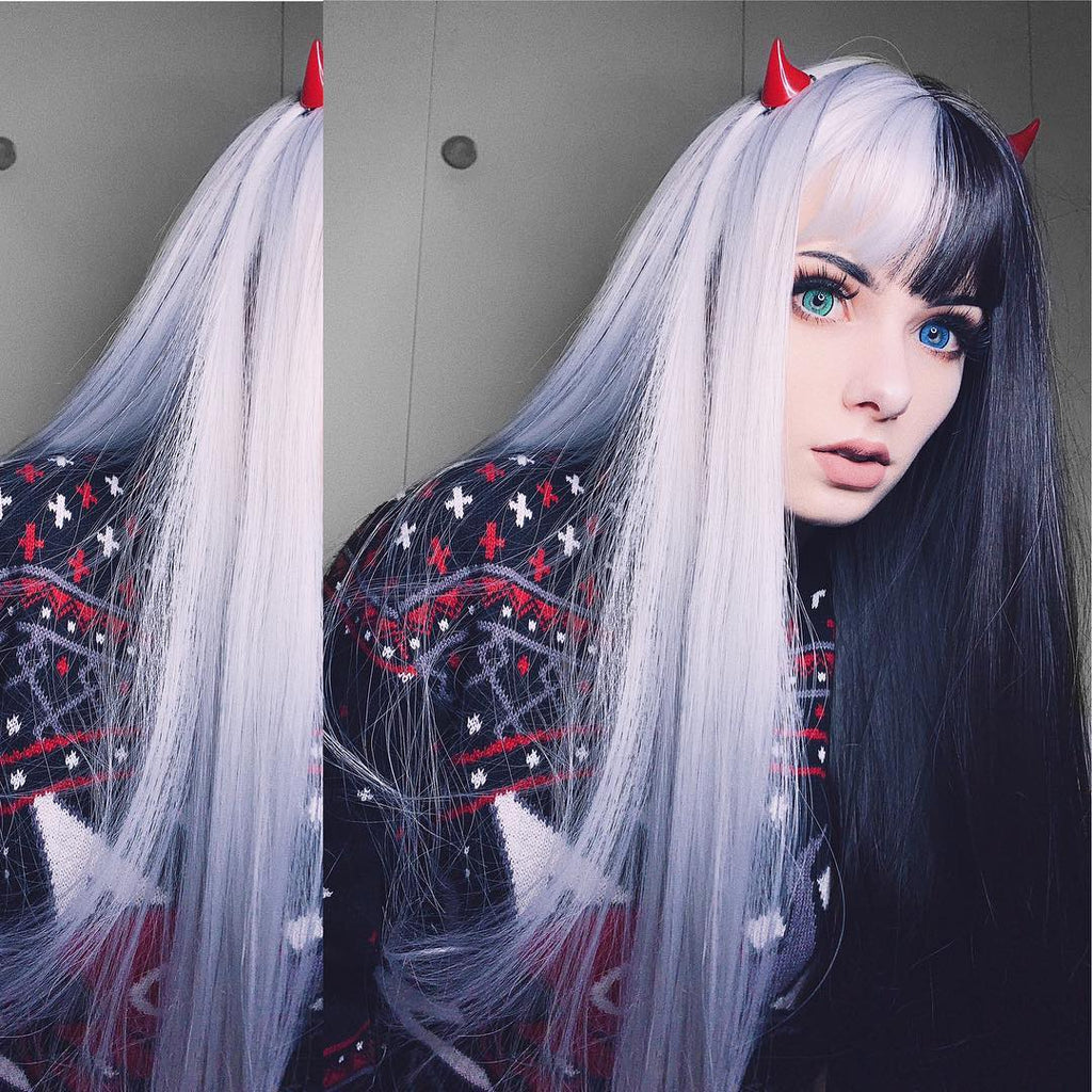 Punk half black half white long wig YV40711
