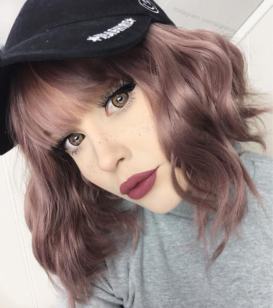 Rose gray air bangs wig YV40159